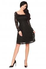 Czarna Rozkloszowana Sukienka z Koronki z Pięknym Dekoltem