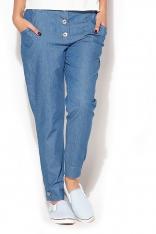 Oryginalne Spodnie z Dużymi Guzikami - Niebieski