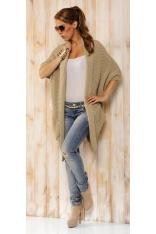 Beżowy Sweter - Narzutka z Dużymi Kieszeniami