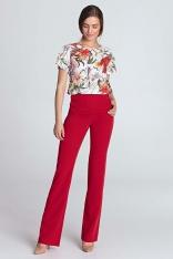 Czerwone Spodnie z Wysokim Stanem z Ozdobnymi Guzikami