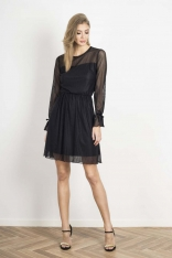 Transparentna Rozkloszowana Czarna Sukienka
