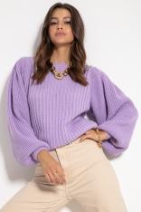 Sweter w Prążki z Bufiastym Rękawem - Fioletowy