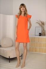 Prosta Sukienka z Rękawem Typu Motylek - Pomarańczowa
