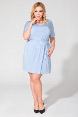 Niebieska Codzienna Dresowa Sukienka Letnia Plus Size