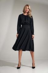 Czarna Rozkloszowana Midi Sukienka z Marszczeniami