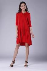 Czerwona Subtelna Sukienka z Obniżoną Talią Wiązana przy Dekolcie