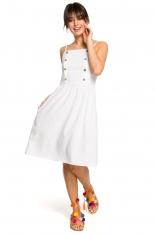 Biała Sukienka na Ramiączkach Ozdobiona Guzikami