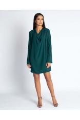 Zielona Luźna Mini Sukienka z Dekoltem Typu Woda