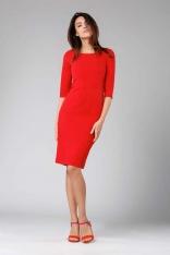 Czerwona Klasyczna Ołówkowa Sukienka z Rękawem za Łokcie