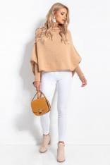Oversizowy Sweter z Opadającym Dekoltem - Karmelowy