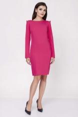 Różowa Dopasowana Sukienka z Rękawem Typu Cold Shoulder