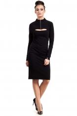 Czarna Sukienka Ołówkowa do Kolan z Suwakiem
