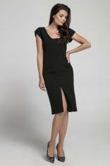 Czarna Wyjściowa Dopasowana Sukienka z Przewiązanym Wycięciem na Plecach