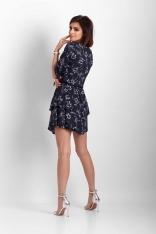 Granatowa Zwiewna Sukienka w Kwiaty z Dekoltem V