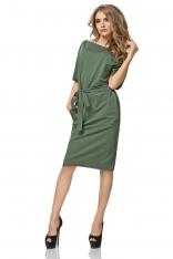 Zielona Sukienka Kimonowa Midi z Paskiem
