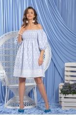 Błękitna Haftowana Sukienka z Hiszpańskim Dekoltem