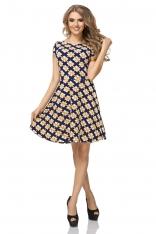 Sukienka Wzorzysta Rozkloszowana z Mini Rękawkiem Wzór - Romby