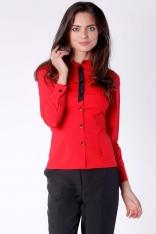 Klasyczna Czerwona Taliowana Koszula z Czarną Taśmą przy Guzikach