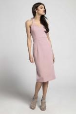 Jasnoróżowa Dopasowana Sukienka Midi Wiązana na Karku