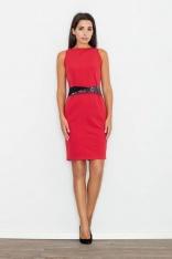 Czerwona Sukienka Wizytowa Bodycon z Kontrastową Szarfą