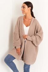 Sweter Typu Kardigan bez Zapięcia - Latte