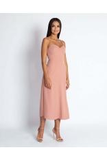Różowa Midi Sukienka na Cienkich Ramiączkach