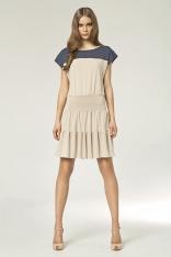 Beżowa Sukienka z Falbankami