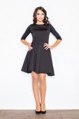 Czarna Rozszerzana Sukienka w Wytłaczany Wzór