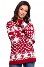 Ciepły Sweter z Zimowym Motywem - Model 1