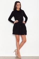 Czarna Sportowa Sukienka z Lejącym Golfem z Troczkami