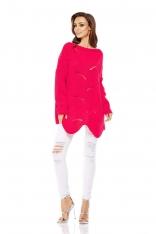 Malinowy Sweter Oversize z Dekoltem w Łódkę na Długi Rękaw