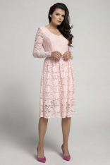Jasnoróżowa Wizytowa Rozkloszowana Sukienka z Koronki