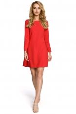 Czerwona Dzianinowa Sukienka z Ozdobnymi Plisami na Plecach