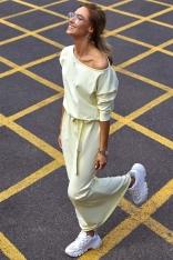 Żółta Zbluzowana Maxi Sukienka z Paskiem