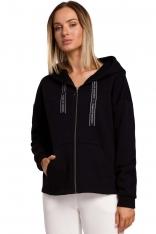 Czarna Asymetryczna Bluza na Suwak z Kapturem