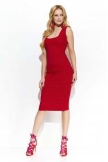Czerwona Elegancka Ołówkowa Midi Sukienka z Przeszyciami