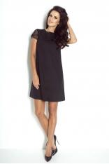Czarna Sukienka Trapezowa z Koronkowymi Rękawkami