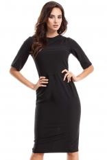Czarna Sukienka Elegancka Ołówkowa z Ozdobnym Marszczeniem
