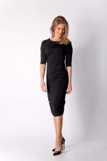 Czarna Dopasowana Sukienka Midi Marszczona na Bokach
