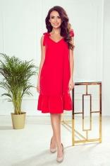 Czerwona Wizytowa Sukienka z Falbanką Wiązana na Ramionach
