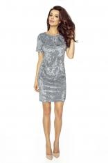 Sukienka Dopasowana Mini z Kokardą przy Dekolcie w Drobną Kratkę