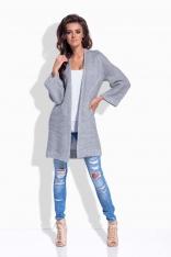 Jasnoszary Sweter Długi Elegancki bez Zapięcia