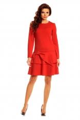 Czerwona Elegancka Sukienka z Długim Rękawem z Kokardą