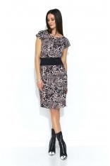 Beżowo Brązowa Sukienka Bombka z Mini Rękawkiem w Zwierzęcy Print