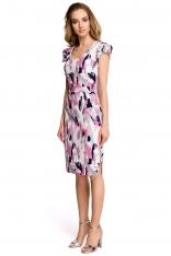 Dopasowana Sukienka w Pastelowy Deseń z Ozdobnym Rękawkiem - Wzór 1