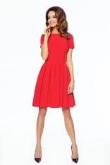 Czerwona Wizytowa Sukienka z Plisami z Krótkim Rękawem