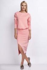 Brzoskwiniowa Casualowa Midi Sukienka z Kopertowym Dołem