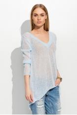 Luźny Błękitny Sweter z Dekoltem w Serek