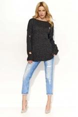 Czarny Sweter Dłuższy Melanżowy z Dziurami