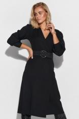 Kopertowa Sukienka z Bufiastym Rękawem - Czarna